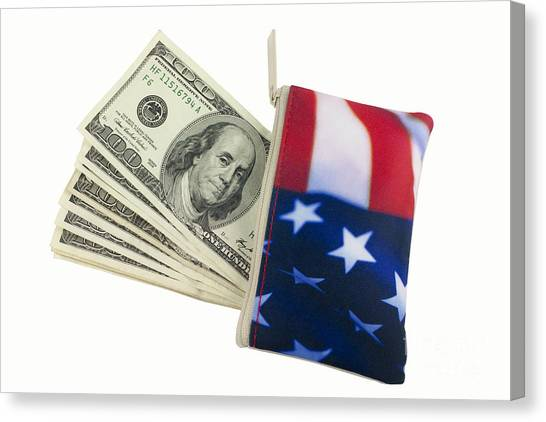 Taxes Canvas Print - American Flag Wallet With 100 Dollar Bills by Blink Images