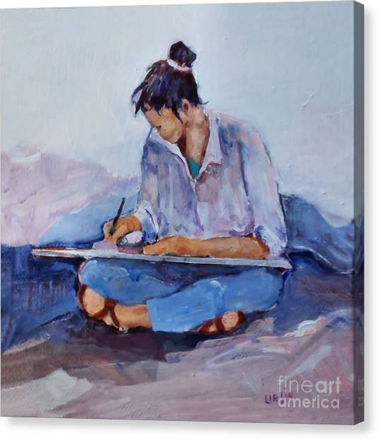 Artist In Pink And Blue Canvas Print