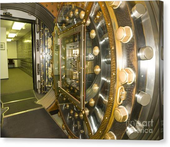 Bank Vault Interior Canvas Print by Adam Crowley