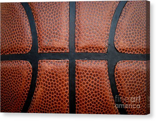 Basketball - Leather Close Up Canvas Print by Ben Haslam