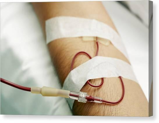 Blood Transfusion Canvas Print by Mauro Fermariello