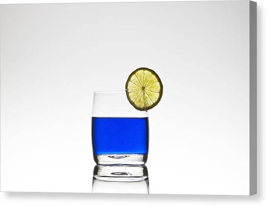 Lemons Canvas Print - Blue Cocktail With Lemon by Joana Kruse