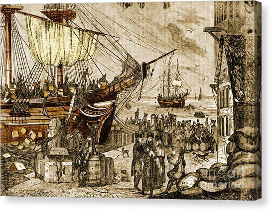 New England Revolution Canvas Print - Boston Tea Party, 1773 by Photo Researchers