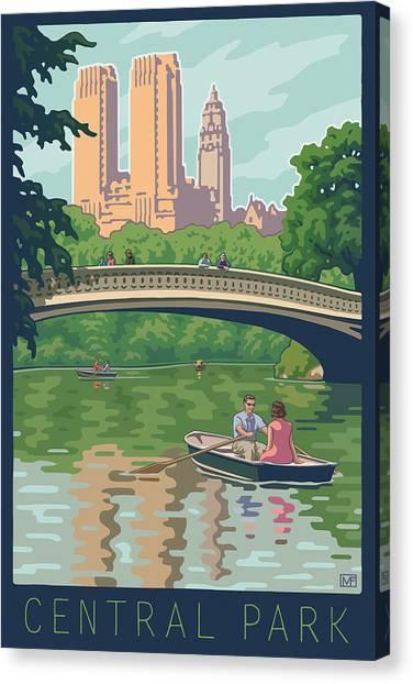 Cast Canvas Print - Bow Bridge In Central Park by Mitch Frey