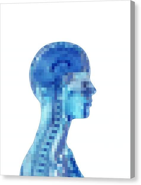 Pixelated Canvas Print - Brain, Computer Artwork by Mehau Kulyk