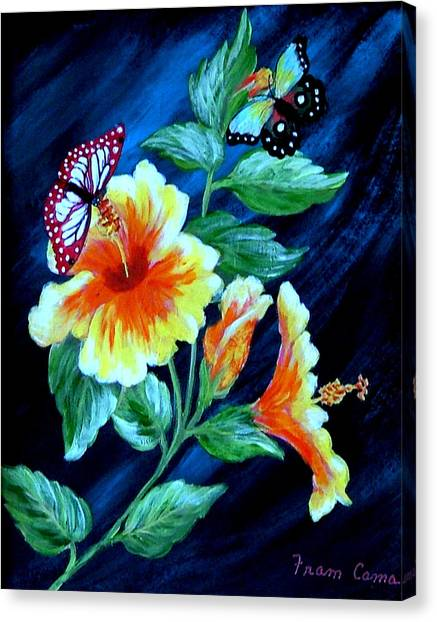 Butterflies And Blooms Canvas Print
