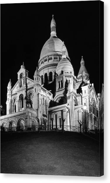 Bw France Paris The Sacre Coeur Basilica 1970s Canvas Print by Issame Saidi