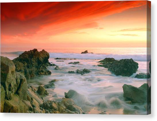 California Beach Sunset Canvas Print