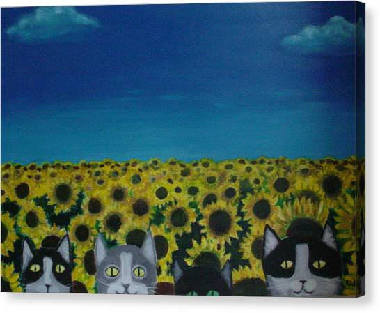 Cats And Sunflowers Canvas Print