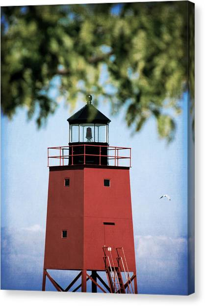 Charlevoix South Pier Lighthouse Canvas Print by Christy Woods
