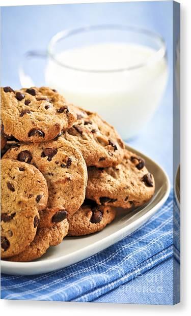 Junk Canvas Print - Chocolate Chip Cookies And Milk by Elena Elisseeva