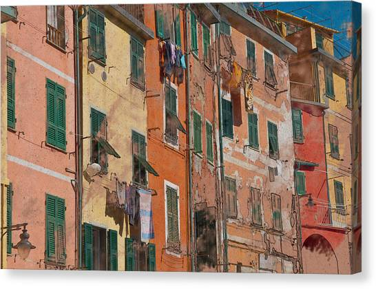 Cinque Terre Colorful Homes Canvas Print