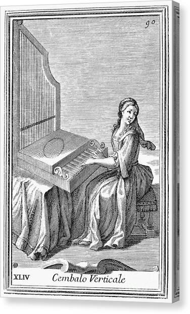 Harpsichords Canvas Print - Clavicytherium, 1723 by Granger