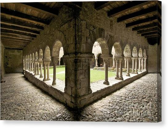 Romanesque Art Canvas Print - Cloister Of Lavaudieu. Haute Loire. Auvergne by Bernard Jaubert