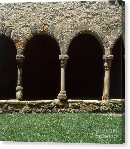 Romanesque Art Canvas Print - Cloister Of Lavaudieu. Haute Loire. Auvergne. France. by Bernard Jaubert