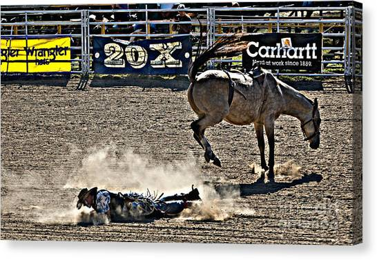 Rodeo Clown Canvas Print - Clown Down by Cheryl Cencich
