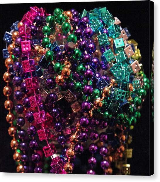 Colorful Mardi Gras Beads Canvas Print
