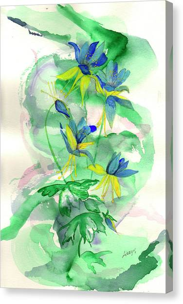 Columbines Canvas Print by Linda Palmer