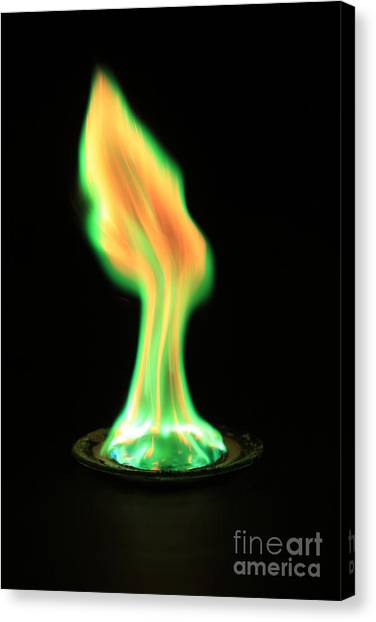 Flame Test Canvas Print - Copperii Chloride Flame Test by Ted Kinsman