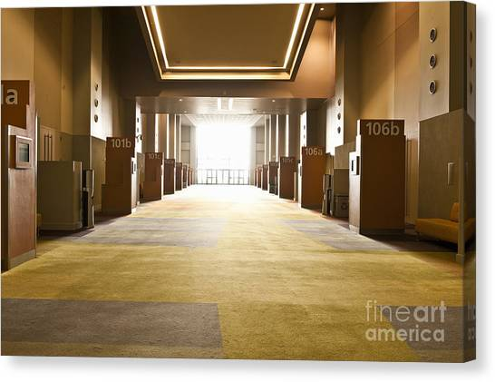 Western Conference Canvas Print - Corridor In Conference Center by Dave & Les Jacobs