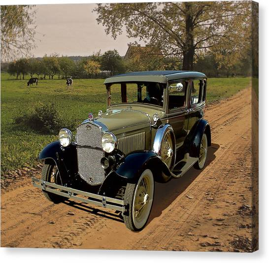 1932 Ford Canvas Print - Country Road by Harry West