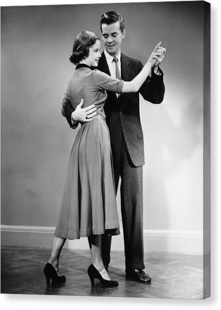 Couple Dancing In Studio, (b&w) Canvas Print by George Marks