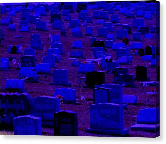 Dark Cemetery Canvas Print by Jose Lopez