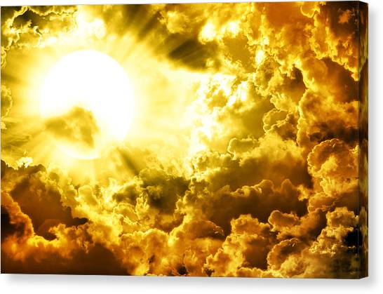 Storm Canvas Print - Dark Sky With Sun by Nattapon Wongwean