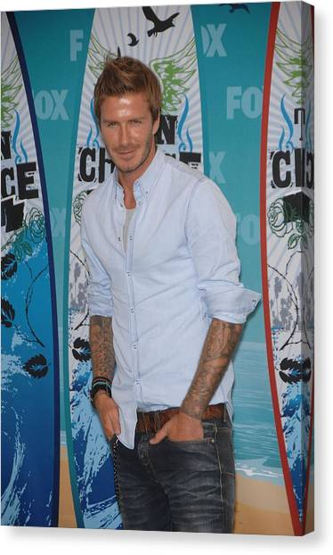 David Beckham Canvas Print - David Beckham In The Press Room by Everett