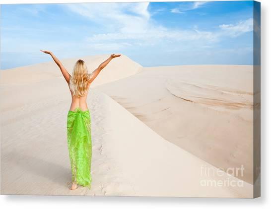 Gobi Desert Canvas Print - Desert Woman by MotHaiBaPhoto Prints