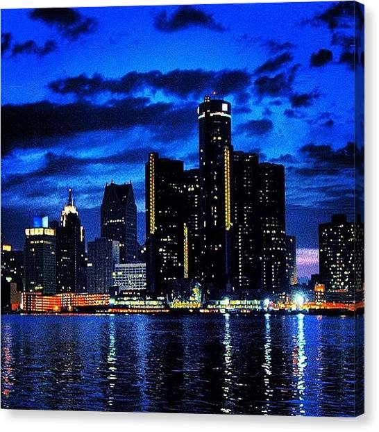 Michigan Canvas Print - Detroit Skyline by Carlos Shabo