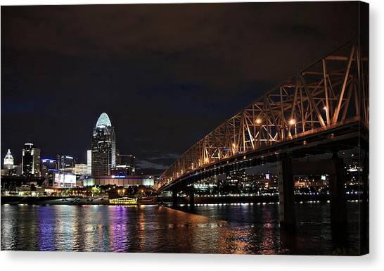 Downtown Cincinnati Canvas Print by Tina Karle