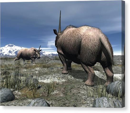 Elasmotherium, Artwork Canvas Print by Walter Myers
