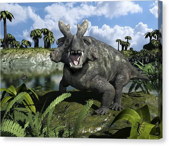 Ural Mountains Canvas Print - Estemmenosuchus, Artwork by Walter Myers