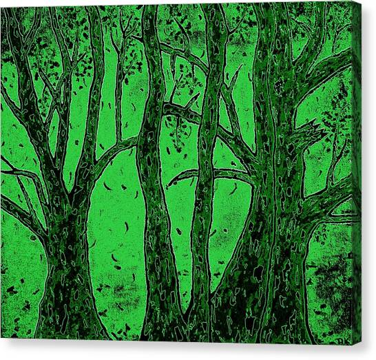 Falling Leaves Green Canvas Print