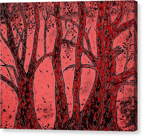 Falling Leaves Red Canvas Print