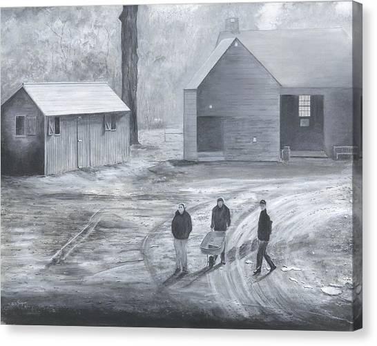 Farm In Black And White Canvas Print