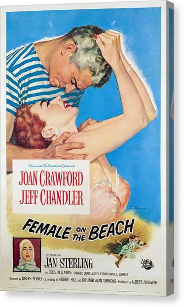 Female On The Beach, Jeff Chandler Canvas Print by Everett