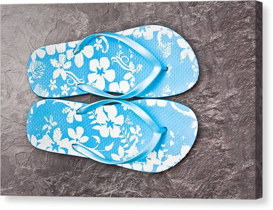 Casual Canvas Print - Flip Flops by Tom Gowanlock