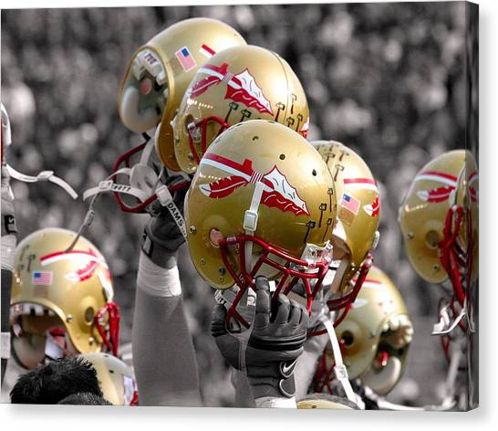 Campbell Canvas Print - Florida State Football Helmets by Mike Olivella