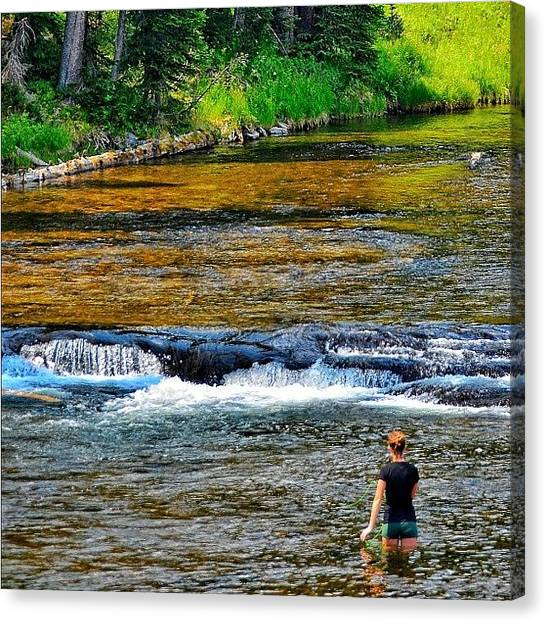 Wyoming Canvas Print - Fly Fishing On The Lewis River by Chris Bechard