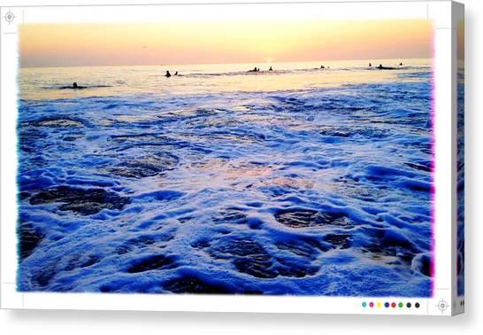 Foamy Sunset Canvas Print by Sebastian Acevedo