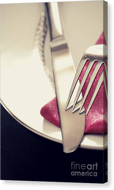 Dinner Table Canvas Print - Fork And Knife by HD Connelly