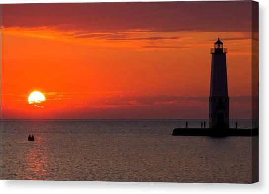 Sun Set Canvas Print - Frankfort Michigan Sunset by Twenty Two North Photography