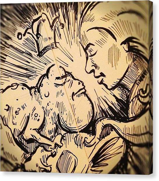 Princess Canvas Print - #frog And #princess #sketch by Jeff Reinhardt