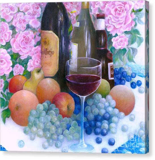 Fruits Wine And Roses Canvas Print