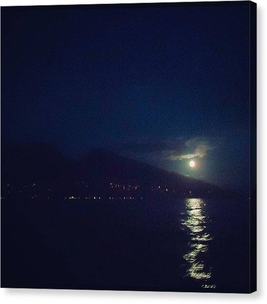 Scuba Diving Canvas Print - Full Moon Night Dive by Jody Robinson