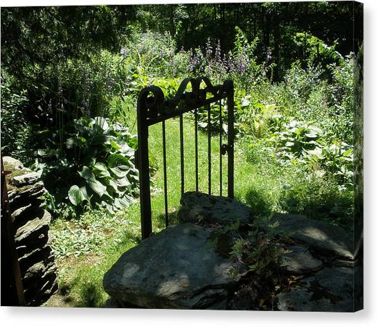 Gate To The Garden Canvas Print by Suzanne Fenster