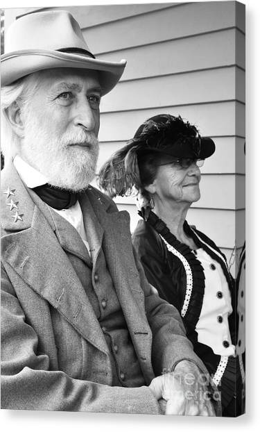 Civil War Site Canvas Print - General Lee And Mary Custis Lee by Thomas R Fletcher