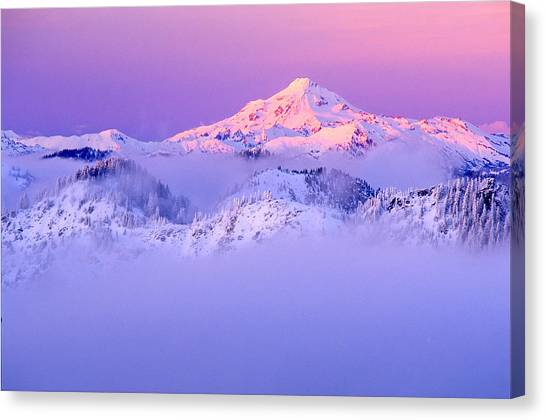 Glacier Peak Alpenglow - Purple Canvas Print by Misao  Okada